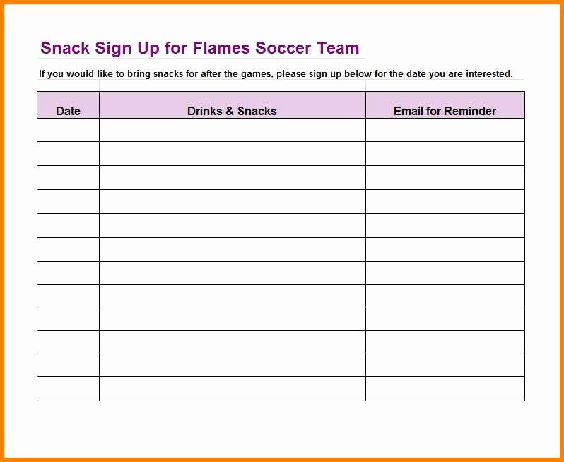 Snack Schedule Template for Baseball Best Of 6 Donation Sheet format