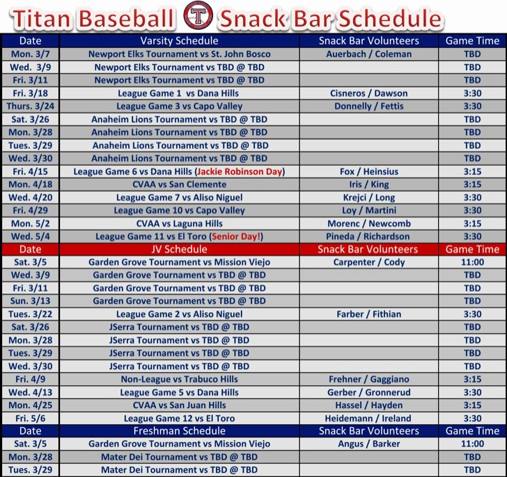 Snack Schedule Template for Baseball Best Of 7 Snack Schedule Templates Free Download