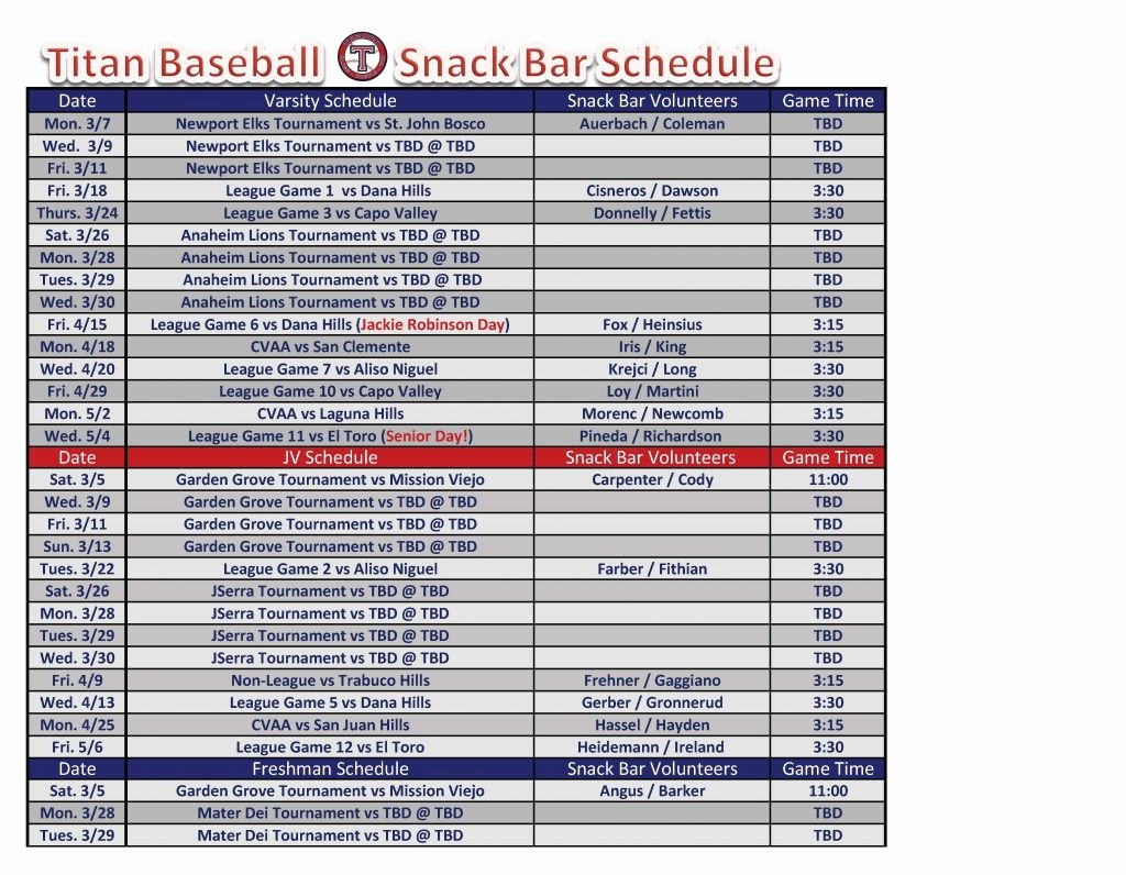Snack Schedule Template for Baseball Best Of Baseball Snack Schedule Template Pdf format