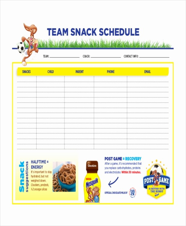 Snack Schedule Template for Baseball Inspirational Snack Schedule Template 7 Free Word Excel Pdf