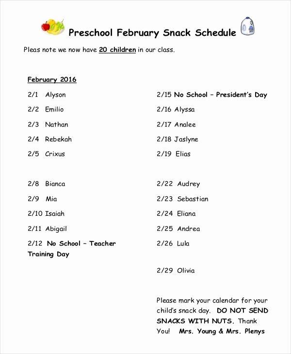 Snack Schedule Template for Baseball Lovely Snack Schedule Template 7 Free Word Excel Pdf