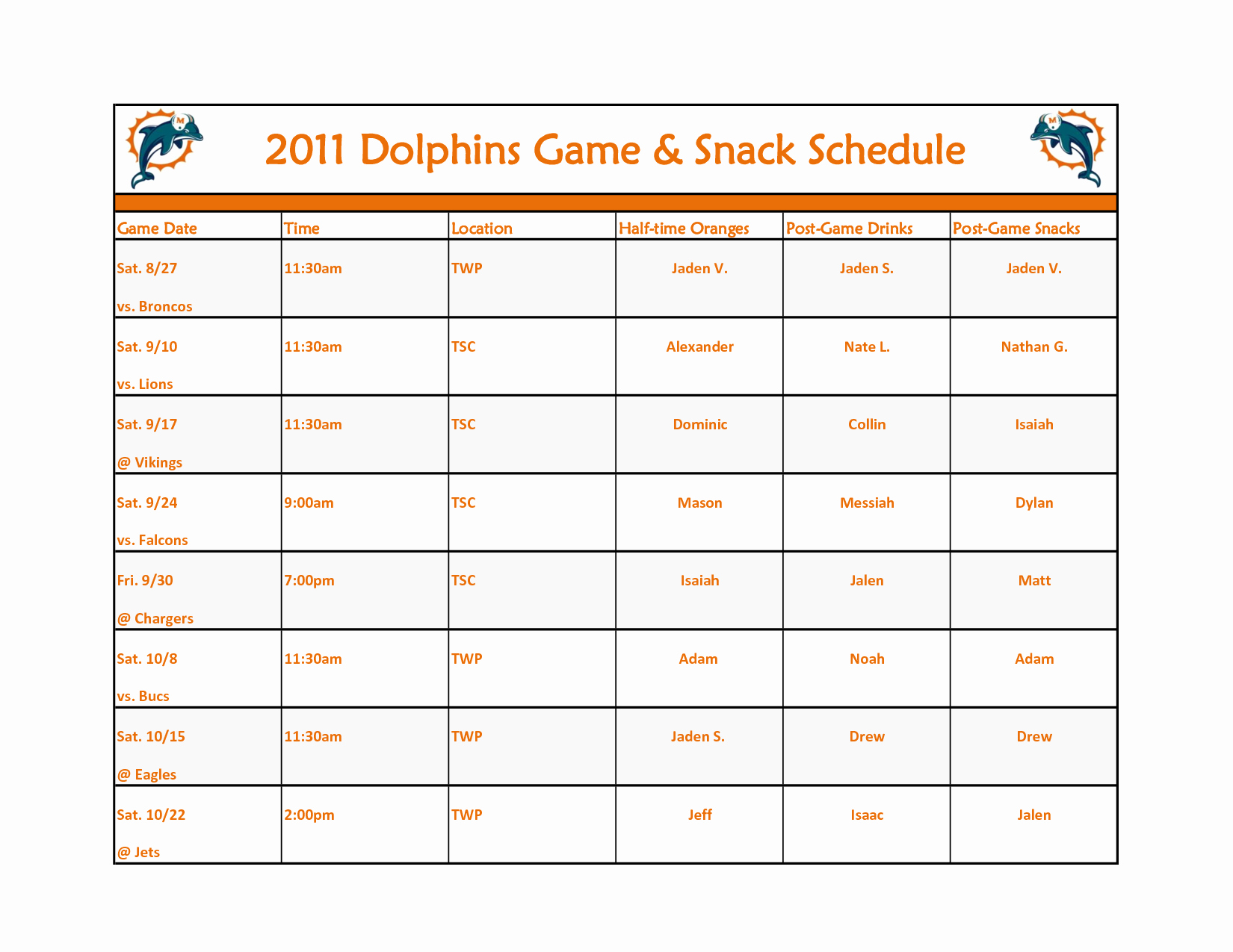 Snack Schedule Template for Baseball New Broncos Schedule