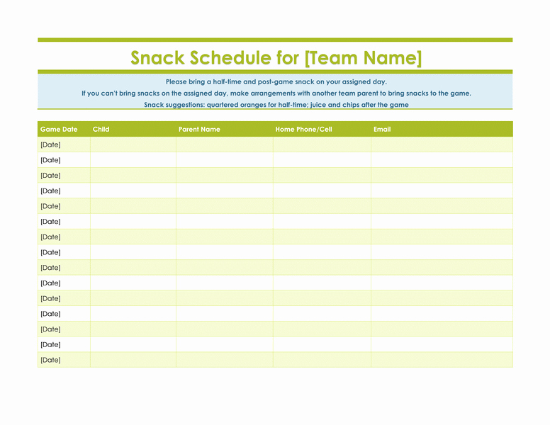 Snack Schedule Template for Baseball Unique Snack Sign Up Sheet for Sports Team