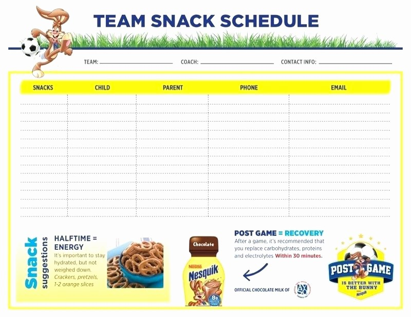 Snack Schedule Template for soccer Awesome Football Stat Sheet Template Excel Schedule Full Size