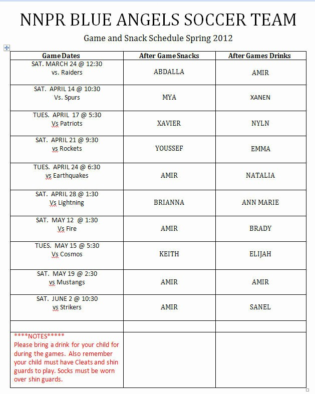 Snack Schedule Template for soccer Awesome Game & Snack Schedule