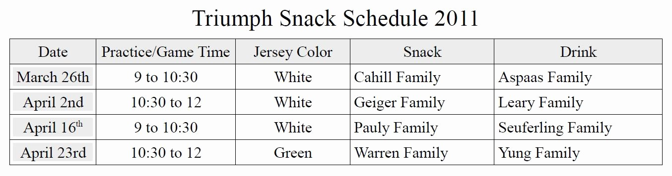 Snack Schedule Template for soccer Beautiful Game Schedule Template