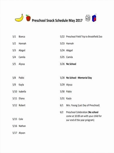 Snack Schedule Template for soccer Elegant 11 Snack Schedule Samples & Templates – Pdf