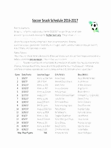 Snack Schedule Template for soccer Elegant soccer Schedule Template Us Session Match Team Roster