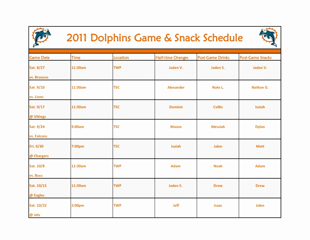 Snack Schedule Template for soccer Fresh Snack Calendar Template