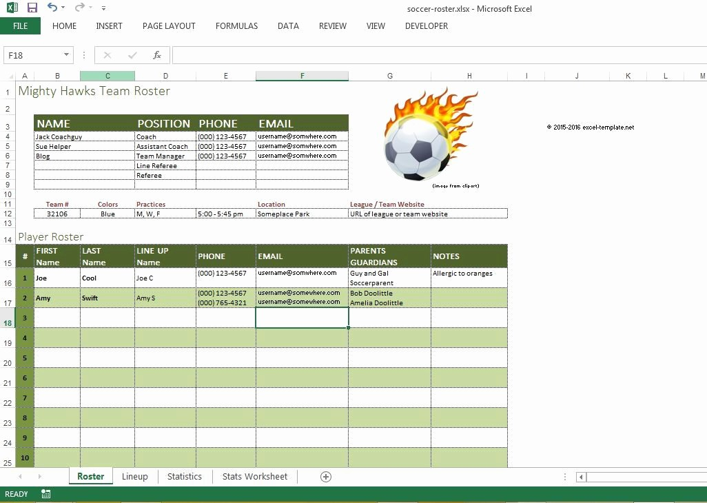 Snack Schedule Template for soccer Fresh soccer Roster Free Excel Template Excel Templates for