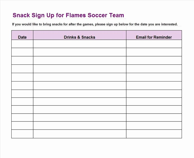 Snack Schedule Template for soccer Inspirational Sign Up Sheet Template 22 soccer Snack