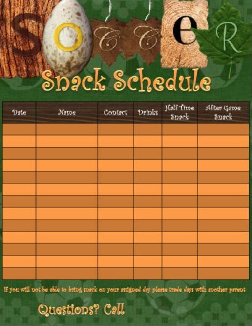 Snack Schedule Template for soccer Lovely 9 Best soccer Images On Pinterest