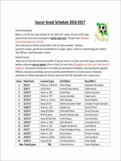 Snack Schedule Template for soccer New 11 Snack Schedule Samples & Templates – Pdf