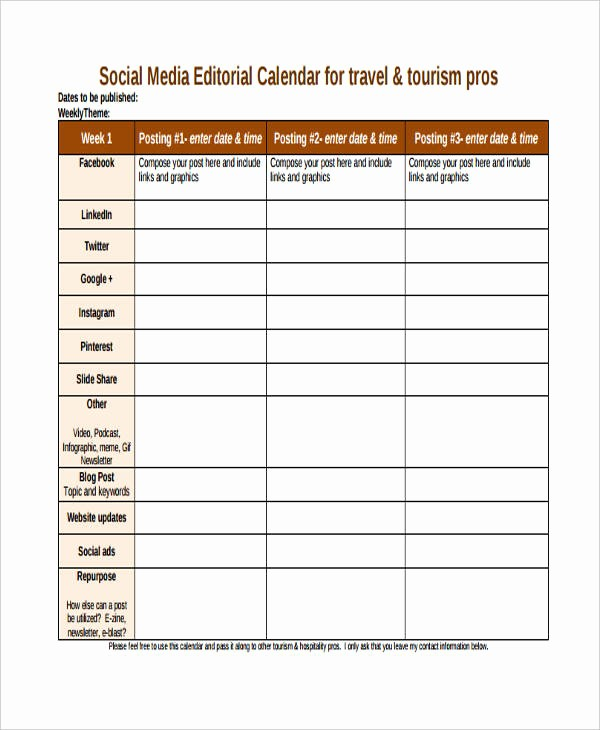 Social Media Content Calendar Templates Awesome 6 Editorial Calendar Templates Free Word Pdf format