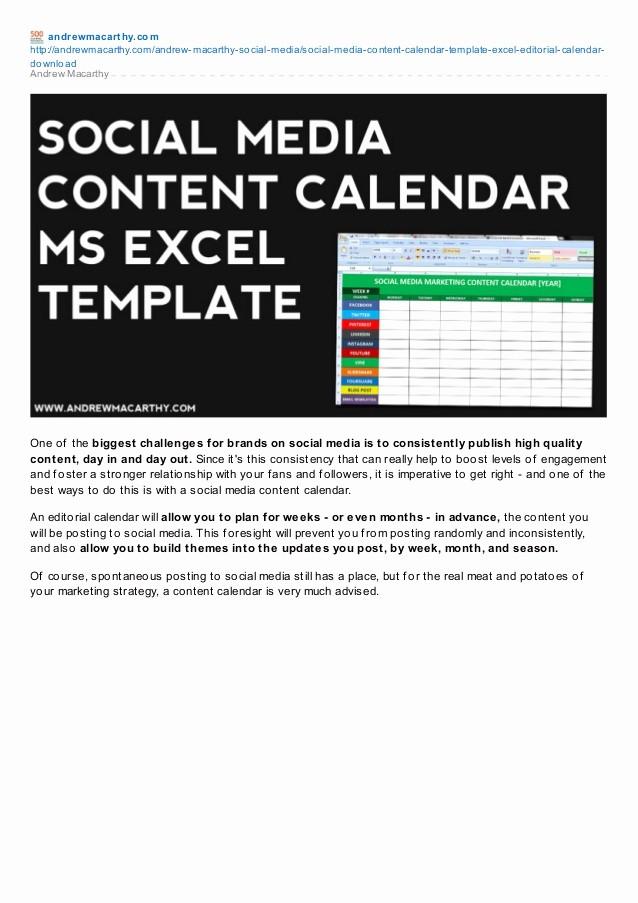 Social Media Content Calendar Templates Awesome social Media Content Calendar Template Excel
