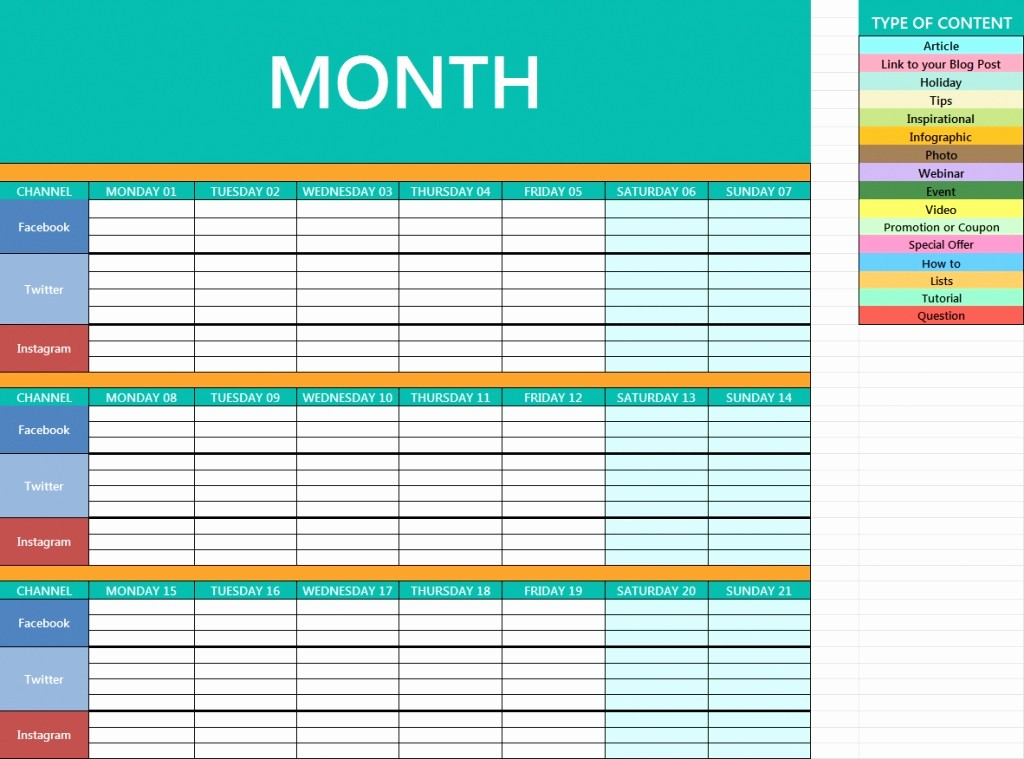Social Media Content Calendar Templates Beautiful social Media Calendar Template