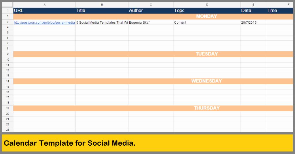 Social Media Content Calendar Templates Best Of 5 social Media Templates that Will Save You Many Hours