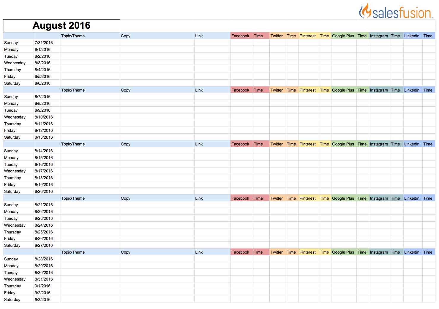 Social Media Content Calendar Templates Best Of social Media Calendar Template
