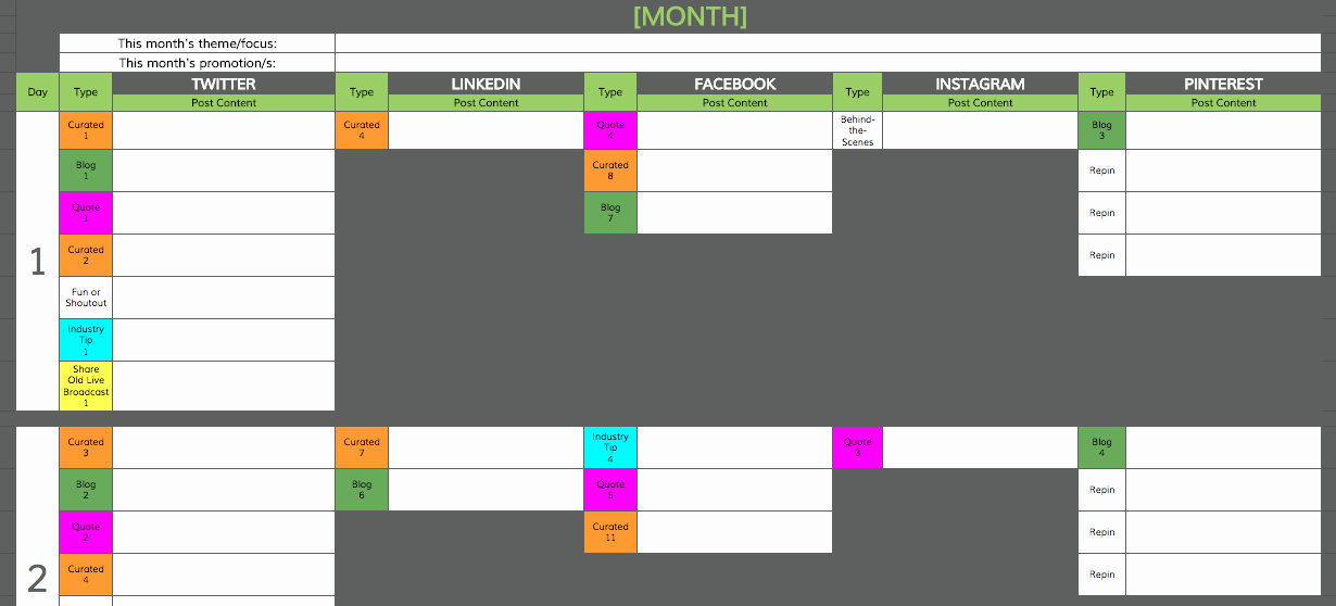 Social Media Content Calendar Templates Elegant social Media Content Calendar Template Road Warrior Creative