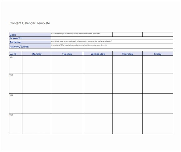 Social Media Content Calendar Templates Fresh 8 Sample social Media Calendar Templates to Download
