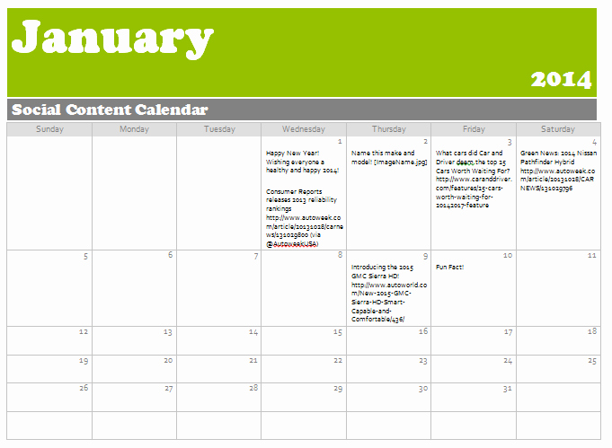Social Media Content Calendar Templates Lovely Automotive social Media Content Calendars Tips & Templates