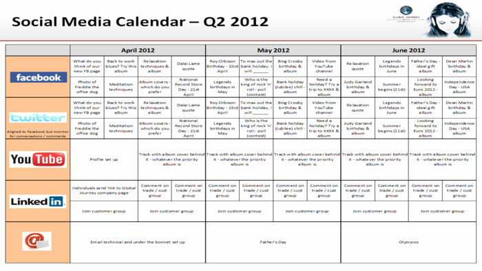 Social Media Content Calendar Templates Lovely Great social Media Content Calendar Template Ideas
