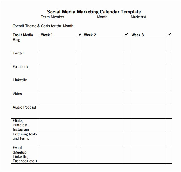 Social Media Content Calendar Templates New 9 social Media Calendar Templates – Samples Examples