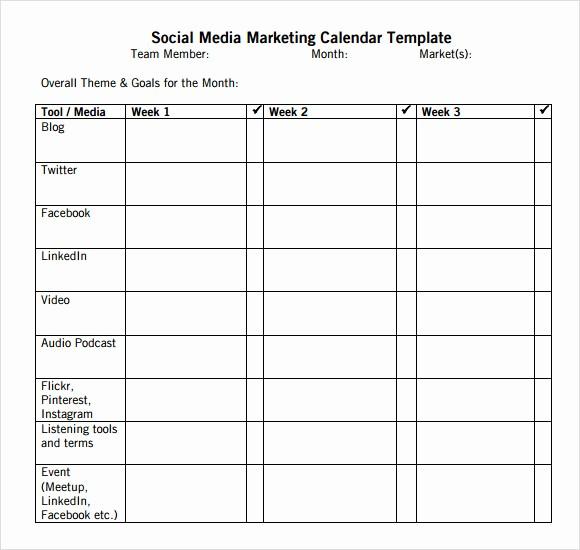 Social Media Content Calendar Templates New 9 social Media Calendar Templates – Samples Examples