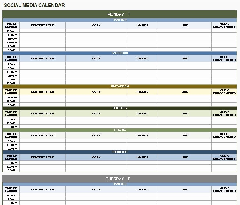 Social Media Content Calendar Templates Unique 18 social Media Marketing Plan Template that Will Make