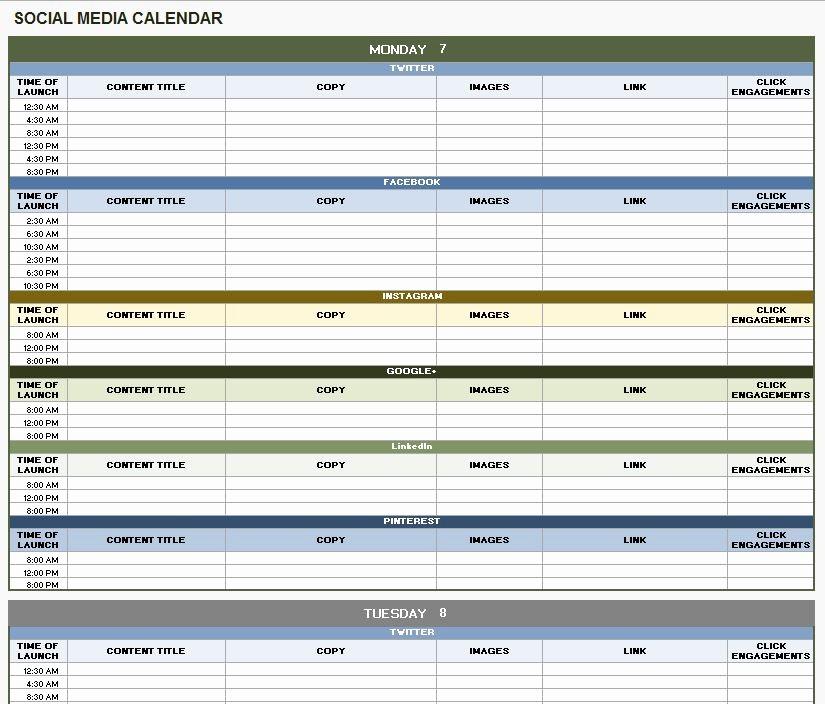 Social Media Content Calendar Templates Unique 18 social Media Marketing Plan Template that Will Make