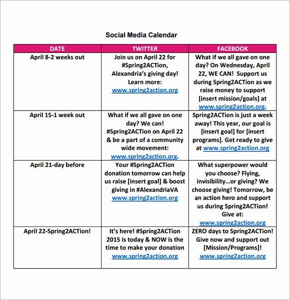 Social Media Content Calendar Templates Unique 8 Sample social Media Calendar Templates to Download