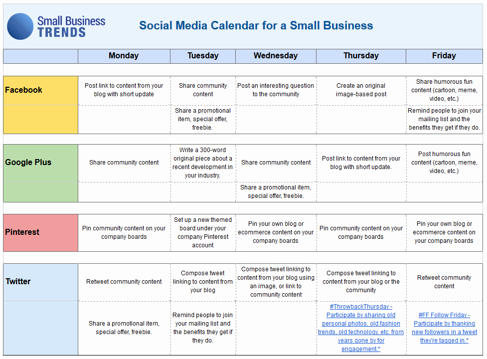 Social Media Post Schedule Template Awesome social Media Calendar Template for Small Business