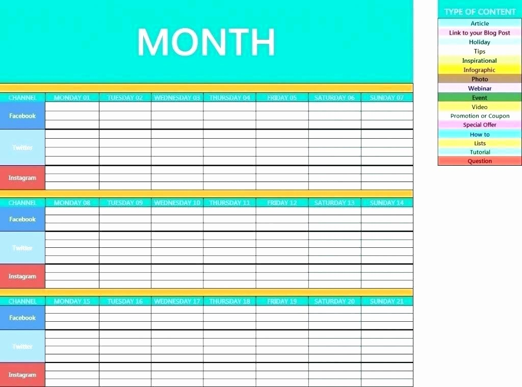 Social Media Post Schedule Template Best Of Monthly social Media Calendar Template