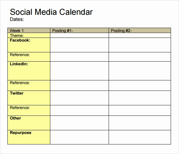 Social Media Post Schedule Template Lovely 9 social Media Calendar Templates – Samples Examples