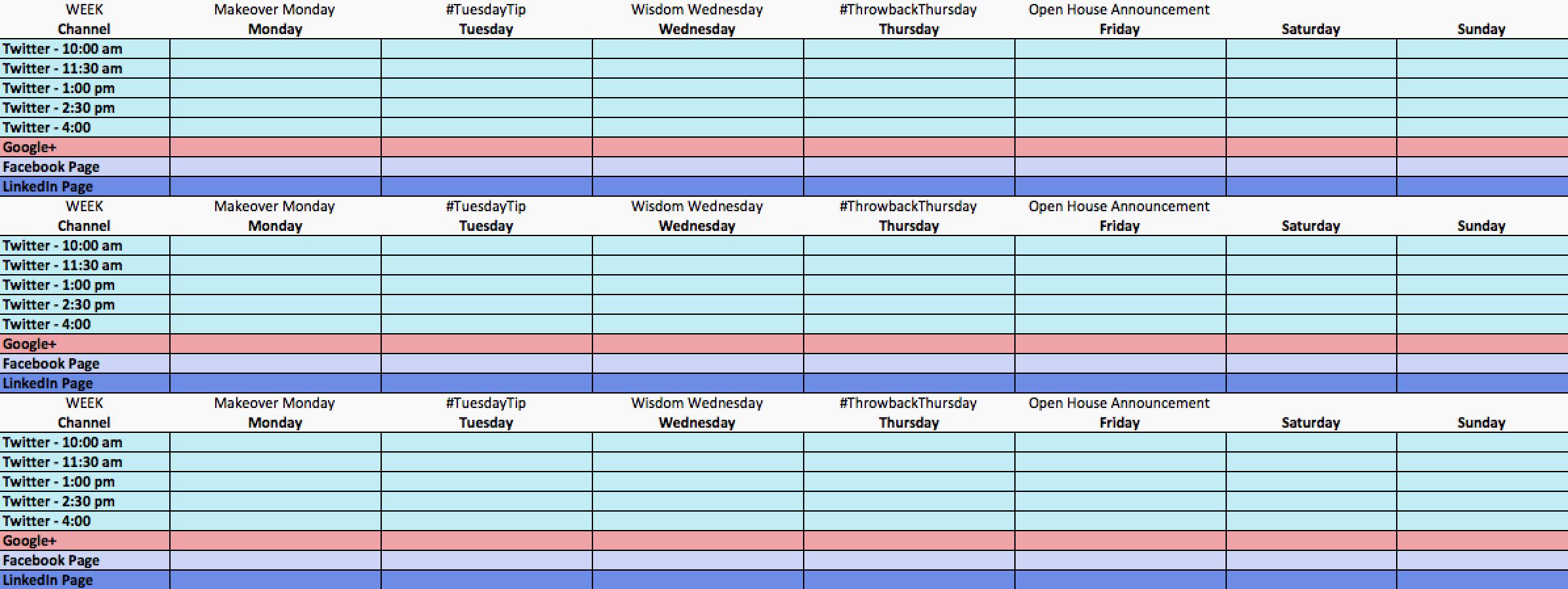 Social Media Post Schedule Template Lovely social Media Calendar Template