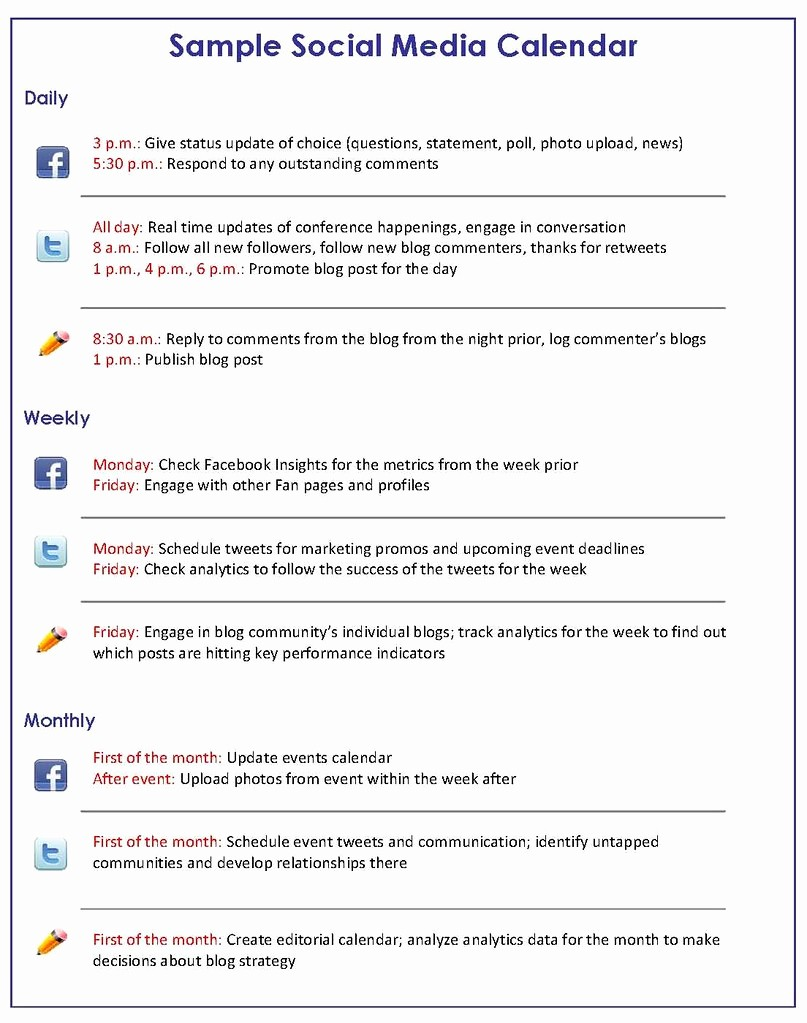 Social Media Post Schedule Template New social Media Marketing How to Get A Handle On Your