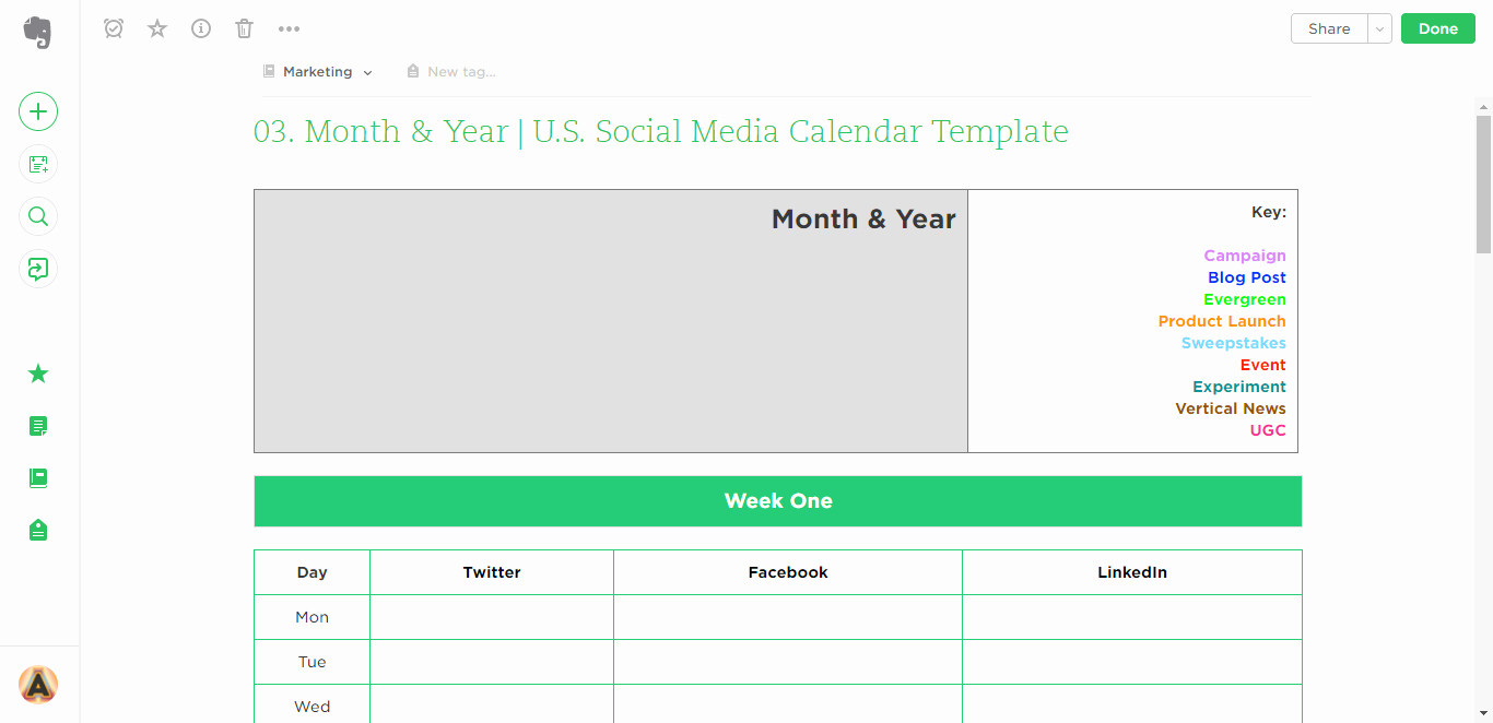 Social Media Post Scheduler Template Best Of 21 Evernote Templates & Workflows to Skyrocket