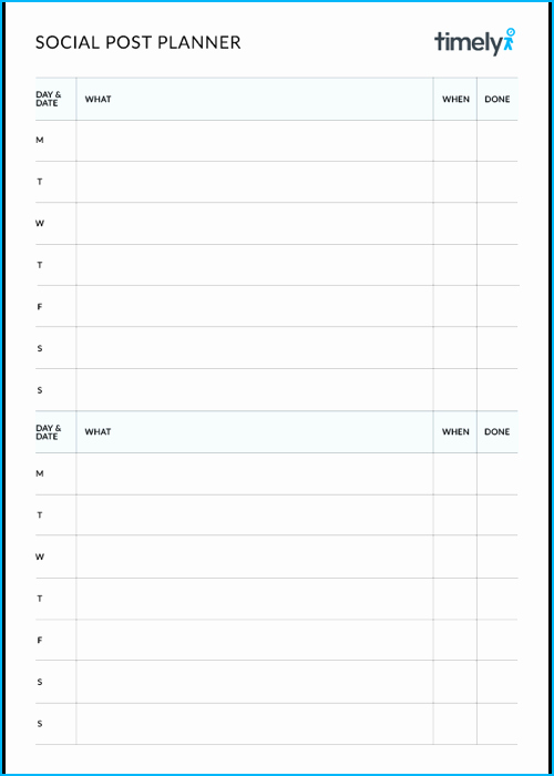 Social Media Post Scheduler Template Elegant social Media Post Planner