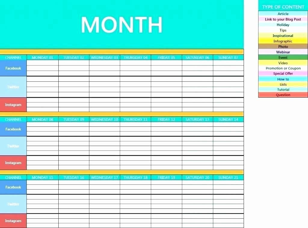 Social Media Post Scheduler Template Lovely Monthly social Media Calendar Template