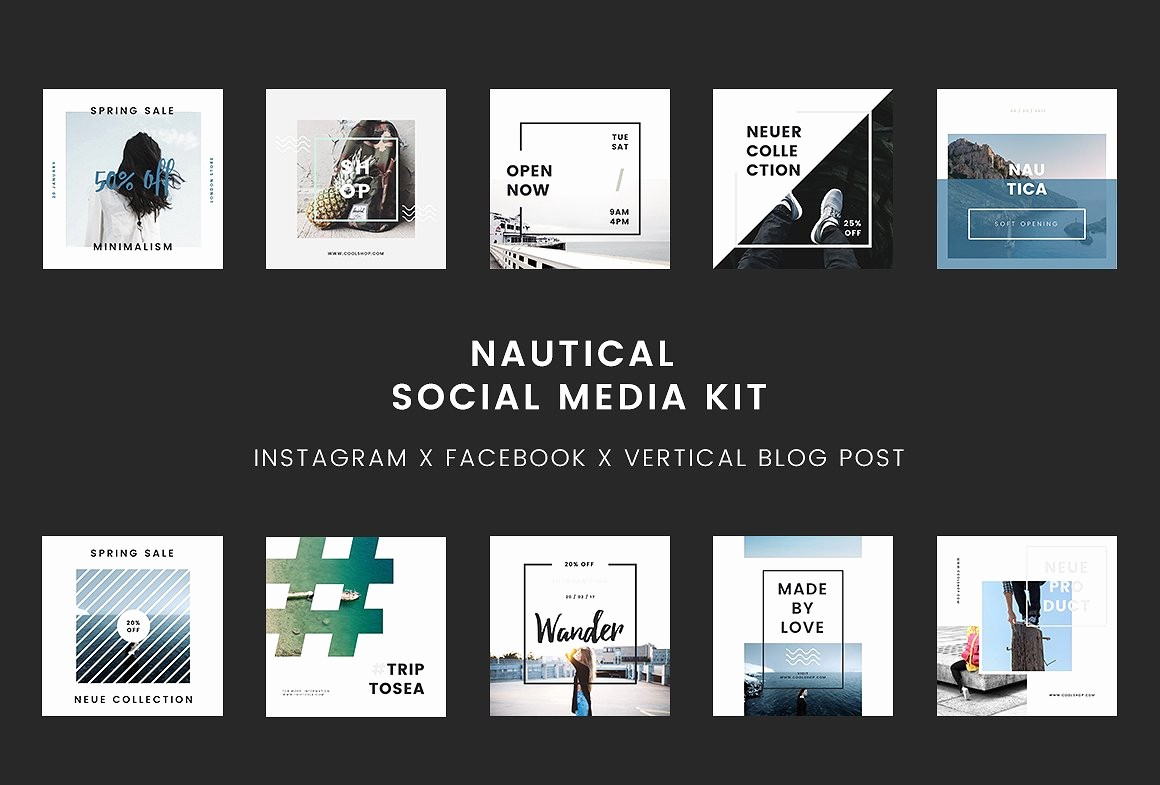 Social Media Post Scheduler Template Luxury Nautical social Media Kit Powerpoint social Media
