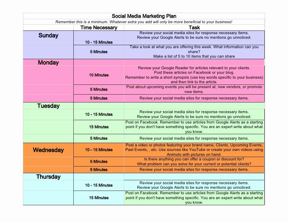 Social Media Post Scheduler Template Luxury social Media Weekly Schedule
