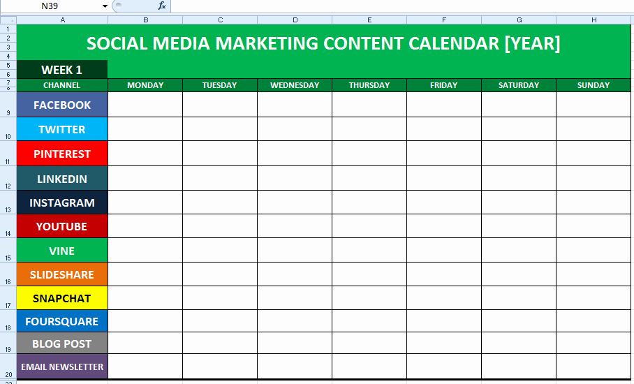 Social Media Post Scheduler Template Unique social Media Content Calendar Template Excel
