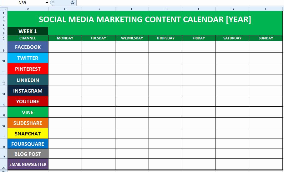 Social Media Post Scheduler Template Unique social Media Content Calendar Template Excel