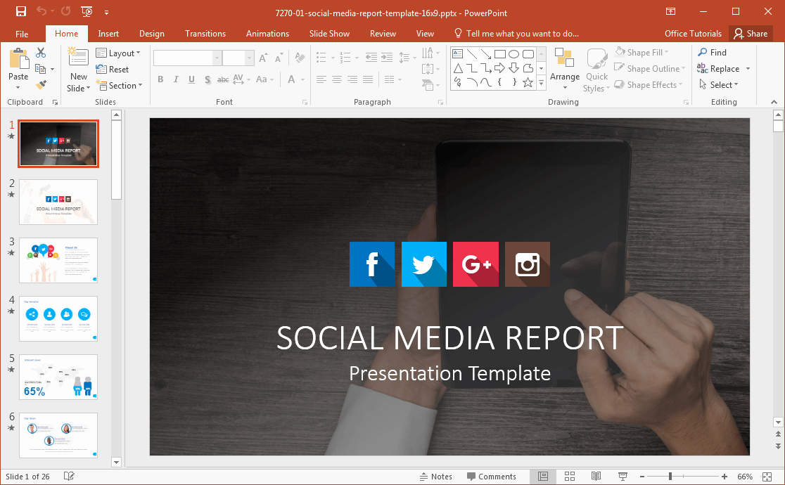 Social Media Report Template Download Beautiful social Media Powerpoint Template