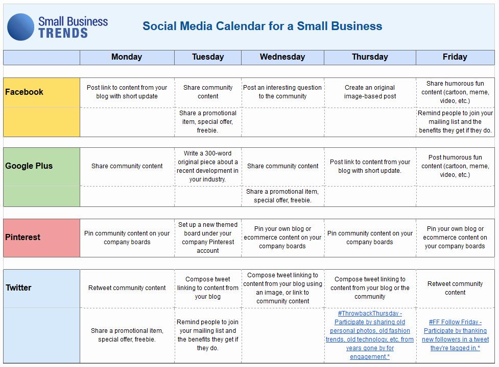 Social Media Templates for Students Fresh social Media Calendar Template for Small Business