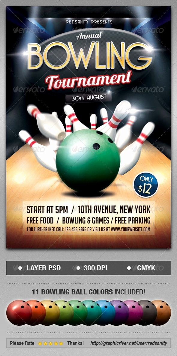 Softball tournament Flyer Template Free Best Of Bowling tournament Psd Flyer Template • Ly Available