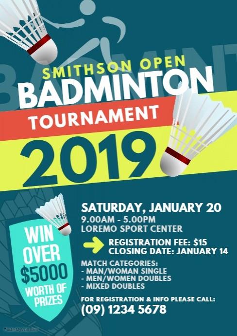 Softball tournament Flyer Template Free Inspirational Badminton tournament Flyer Template
