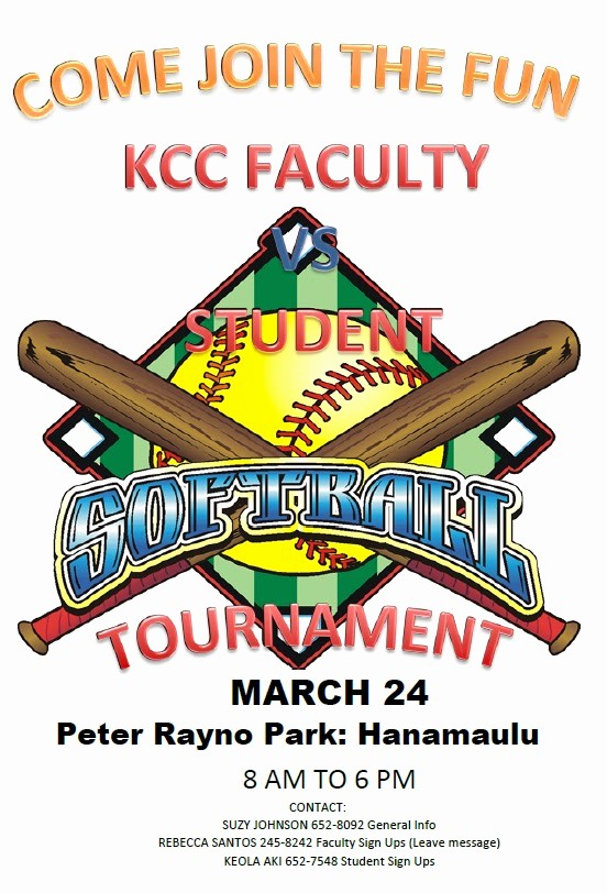 Softball tournament Flyer Template Free Lovely Kauai Munity College Campus News Faculty Vs Student
