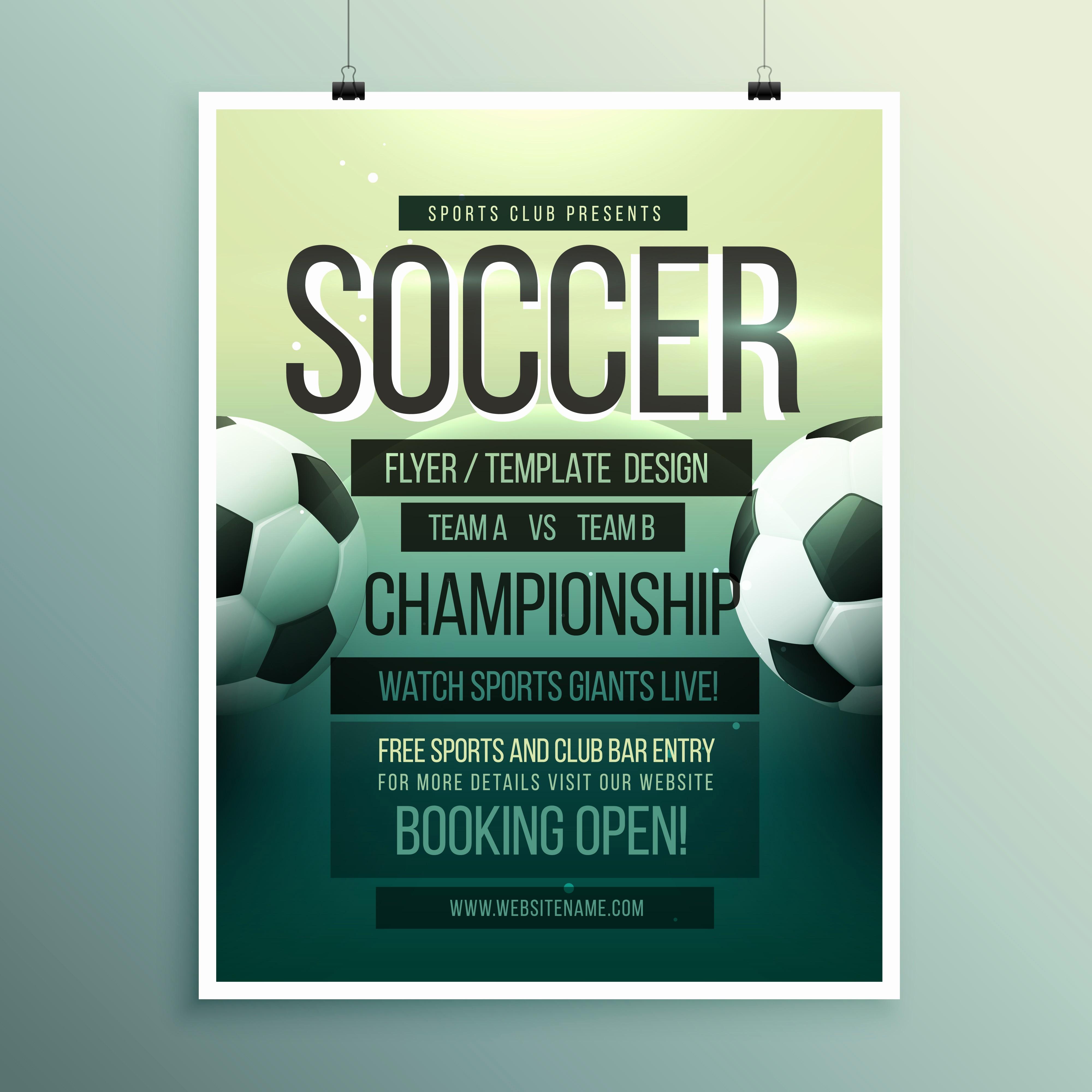 Softball tournament Flyer Template Free Lovely soccer tournament Championship Game Flyer Brochure