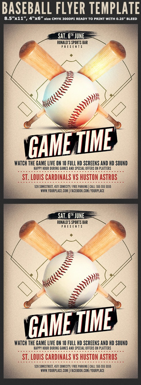 Softball tournament Flyer Template Free Unique Baseball Game Flyer Template